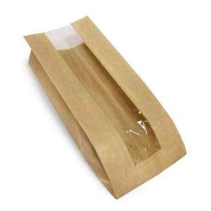 Пакет паперовий з прозорою вставкою 180*100*60 мм 50г/м2 КРАФТ 100 шт