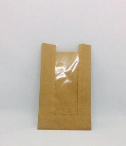Пакет паперовий з прозорою вставкою 210*140*50 мм 50г/м2 КРАФТ 100 шт