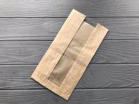 Пакет бумажный с прозрачной вставкой 300*210*50 мм 80г/м2 КРАФТ 100 шт
