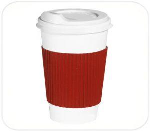 Термочехол клееный на стакан бумажный 250-340 мл красный
