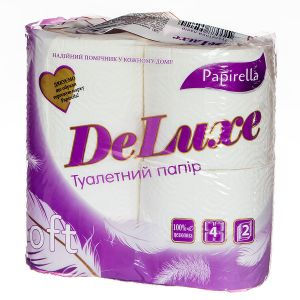 Туалетний папір Papirella Deluxe на гільзі  2 шари 4рул